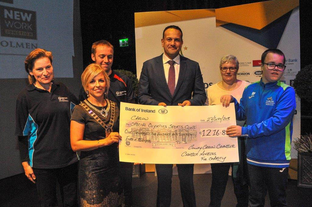 Presentation to Charity to Carlow Special Olympics Sports Club. Angela Collins, Yvonne Jones, Aidan Collins – Athelete, An Taoiseach Leo Varadkar, Clare Purcell, Owen Purc